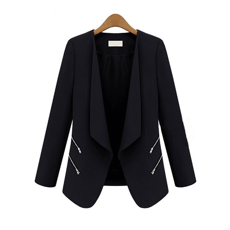 Fashion Women's Slim Leisure Suit Jacket Zipper Long Sleeve Solid Thin Coat for SpringAutumn