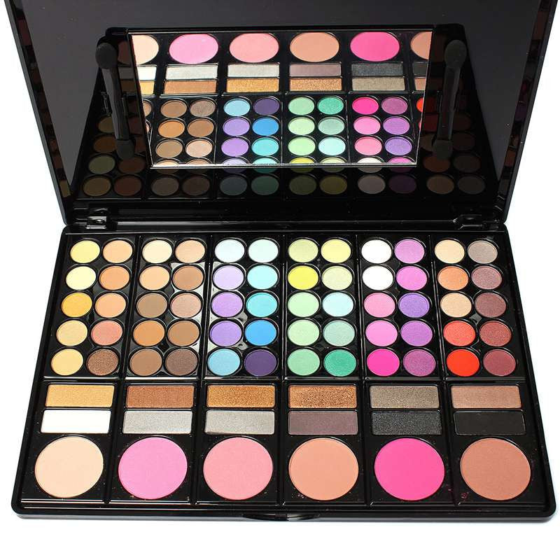 Fashion 78 Colors Pro Eyeshadow Palette Makeup Powder Cosmetic Brush Kit Box With Mirror Women Make Up Tools Eye Shadow