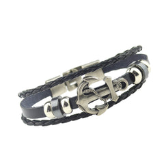 Fashion Alloy Anchor Leather Bracelets Black Charm Bracelets & Bangles for Women Men Jewerly Accessory