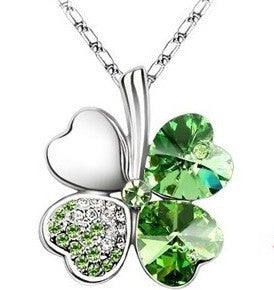 Fashion Austria Crystal Sweet style half rhinestone crystal clover Pendant Necklace