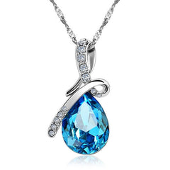 Fashion Blue Crystal Water Drop Pendant Necklace Rhodium Plated Zircon Necklaces & Pendants For Women