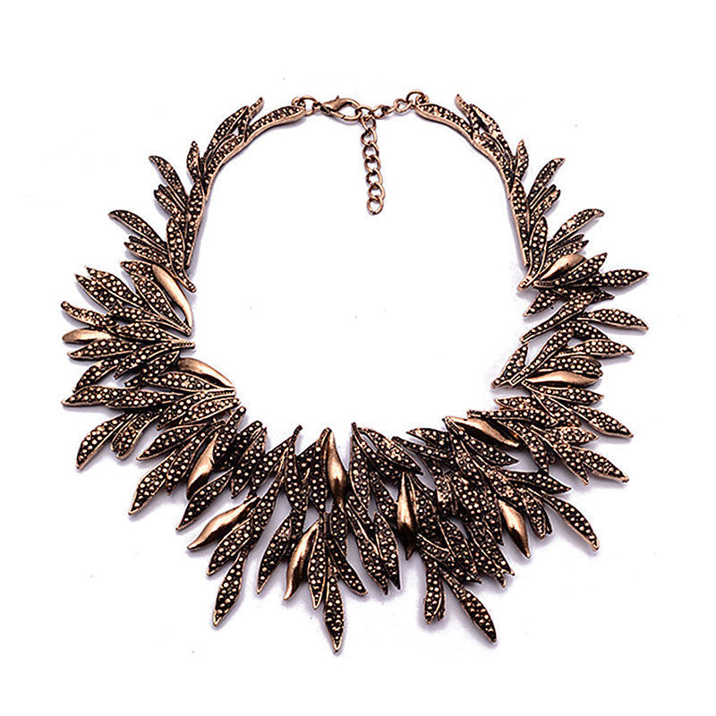 Fashion Bohemia Ethnic Vintage Alloy Willow Statement Necklace Metal Leaves Choker Maxi Necklace Women Jewelry Gift