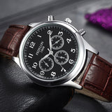 Fashion Casual Mens Watches Luxury Brand High Quality Leather Business Quartz Watch Men Waterproof Wristwatch Relogios Masculino