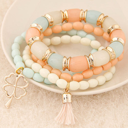 Fashion Charm Bracelets & Bangles Pulseras Mujer Clover Resin Beaded Multilayer Bracelets for Women Girl Pulseira Bijoux
