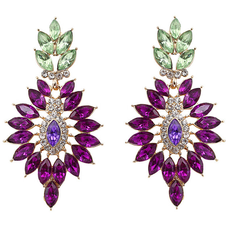 Fashion Classic Brand New Fashion Elegant Crystal Purple Leaf Earrings For Women