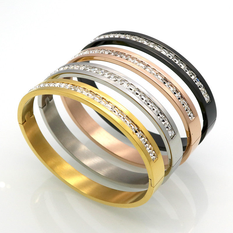 Fashion Costume Couples Jewelry Stainless Steel Lover Bracelets & Bangles Gift For Women Square Silver Color Crystal