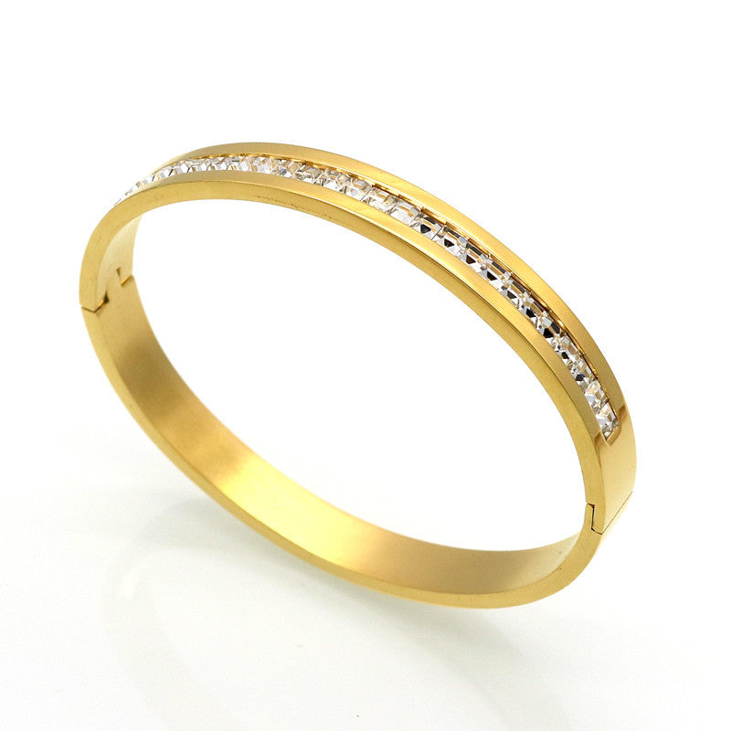 Fashion Costume Couples Jewelry Stainless Steel Lover Bracelets & Bangles Gift For Women/Men Square Silver Color Crystal