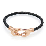 Fashion Cross Clasped Love Infinity Genuine Leather Bracelets Bangles Black Weave Braided Leather Jewelry Women Charm Bracelet