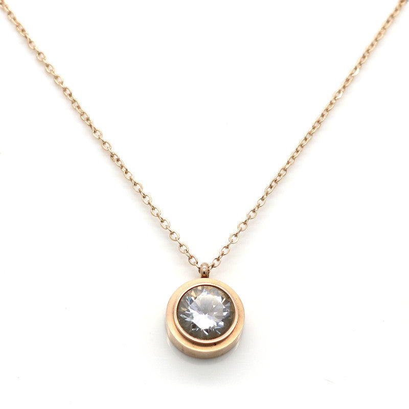 Fashion Crystal Necklace Women Collar Necklace Pendant 18K Rose Gold Plated Stainless Steel Necklace Chain Jewelry