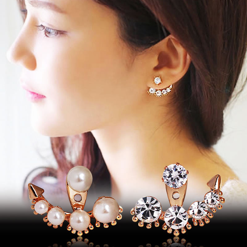 Fashion Earing Big Crystal Rose Gold Silver Ear Jackets Jewelry High Quality Leaf Ear Clips Stud Earrings For Women 1 Pair