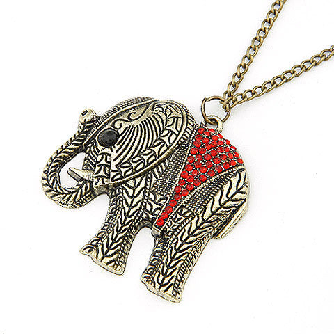 Fashion Elephant Ethnic Necklace Full Crystal Thailand Elephant Pendant Sweater Long Chain Fine Necklace For Women