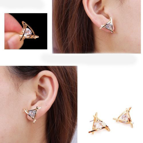Fashion Exquisite Triangle Pierced Crystal Zircon Stud Earrings Jewelry For women Ear Studs Gifts