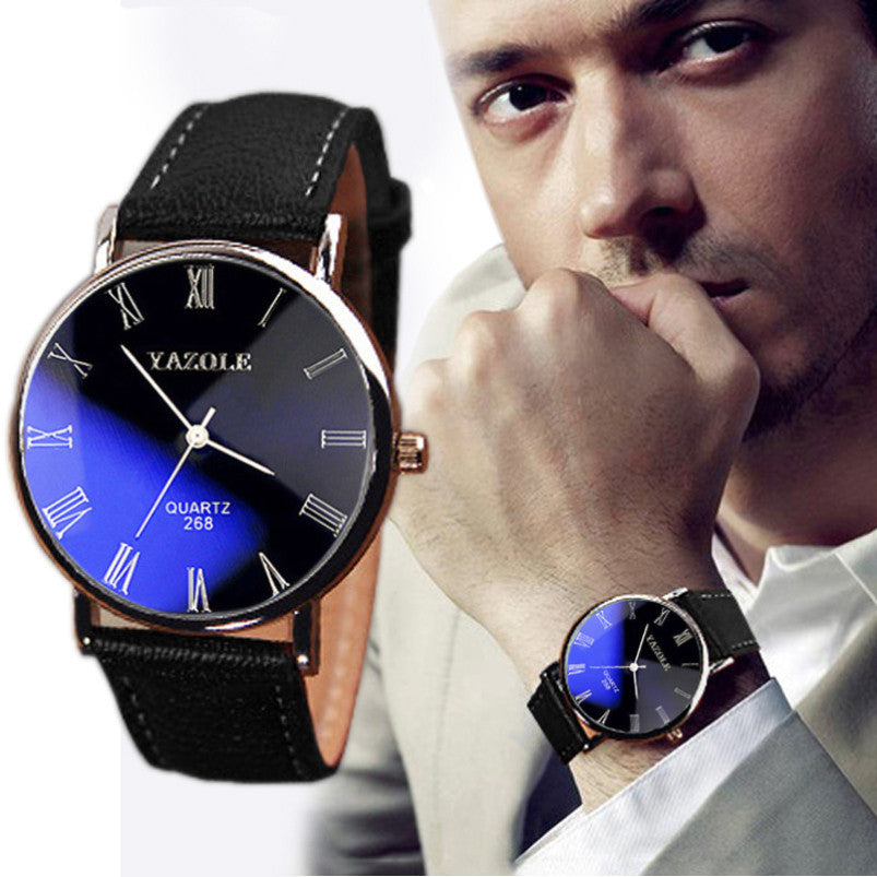 Fashion Faux Leather Men wristwatches Man relojes Hour Blue Ray Glass Quartz Watch Mens Watches Top Brand Luxury Casual Watches