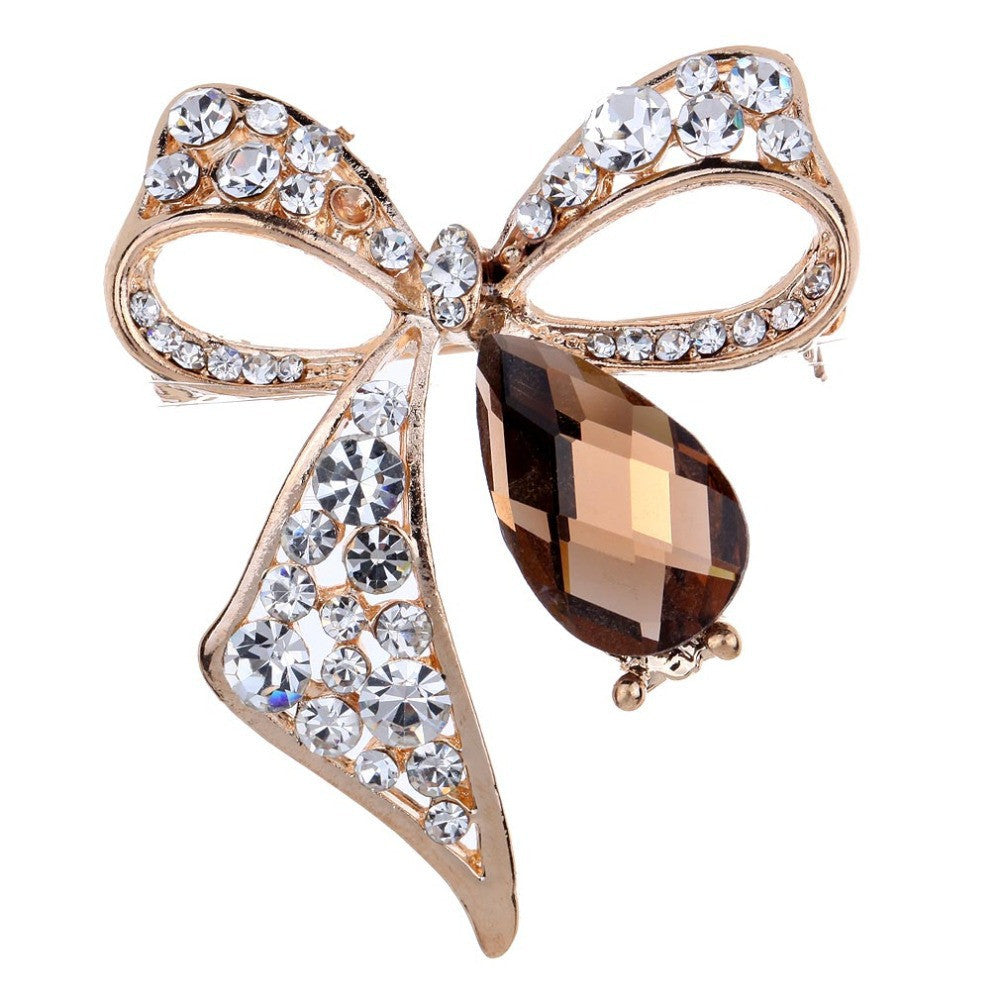 Fashion Fine Jewelry Summer style Crystal Gold Plated Brown Stone rhinestone brooches for Women