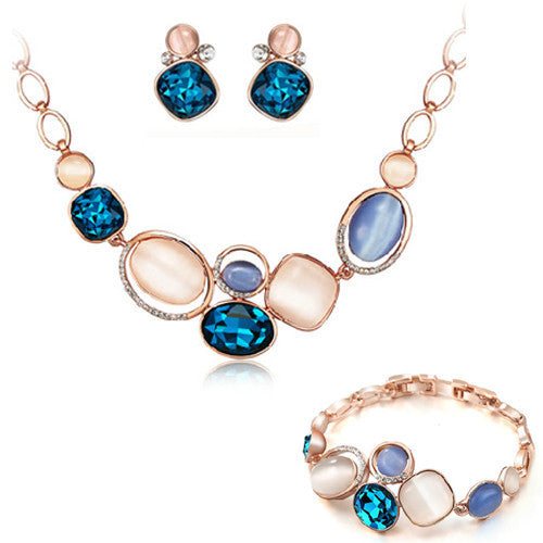 Fashion Gold Jewelry Sets for Women Crystal Necklace Earrings Bracelet Set Opal Collares Wedding Accessories Parure Bijoux Femme