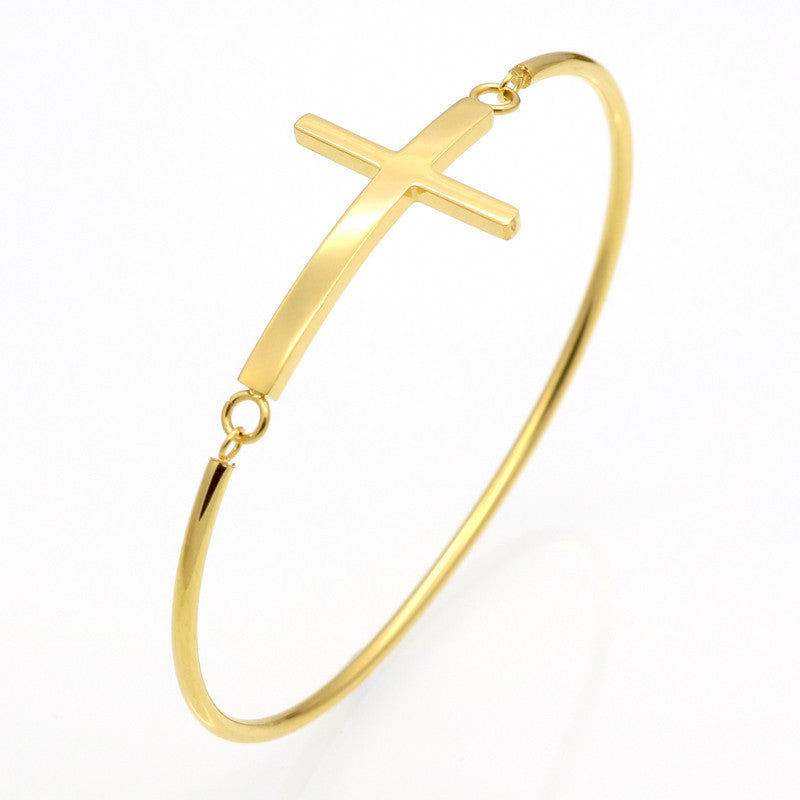 Fashion Gold Sideways Cross Faith Christian Stainless Steel Cross Bracelet Simple Tiny Small Horizontal Cross Bracelets