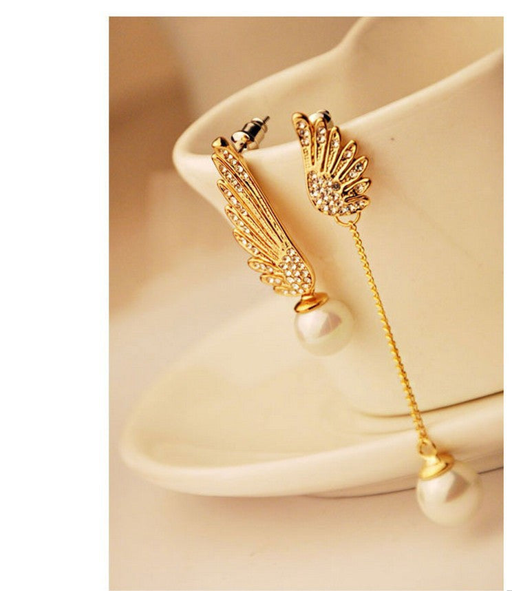 Fashion Gold Stud Earrings for Women Angel Wings Pendientes Mujer Pearl Earring Brincos Jewelry