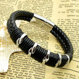 Fashion Handmade Vintage Bracelet British Style Stainless Steel Accessories Strap Genuine Leather Bracelet Punk Men Bracelets