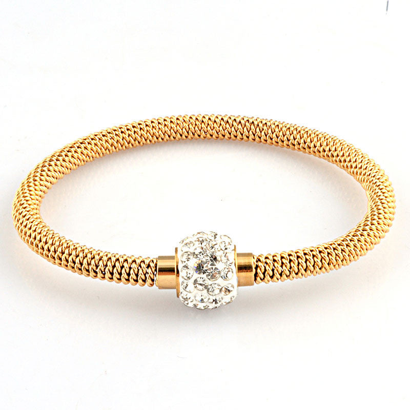 Fashion High Quality Charm Chic Valentine Gift Jewelry Stainless Steel Gold Women Distort Bracelets & Bangles