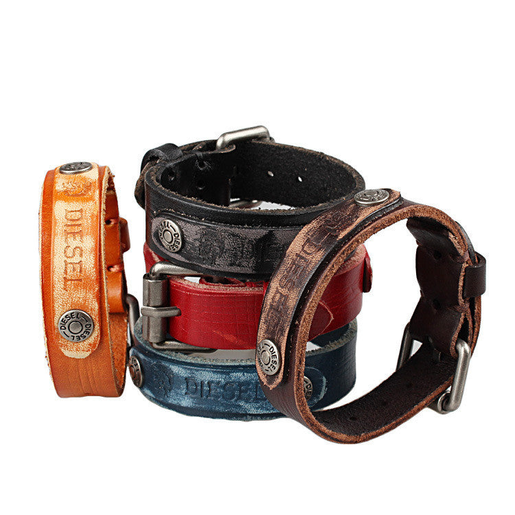 Fashion Hotsale Cool Rock Men Woman Genuine Leather Soft Bracelet Bracelets