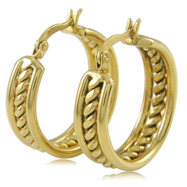 Fashion Jewelry 18k Real Gold Plating Hoop Earrings Trendy Stainless Steel Earring For Women Wedding Earring