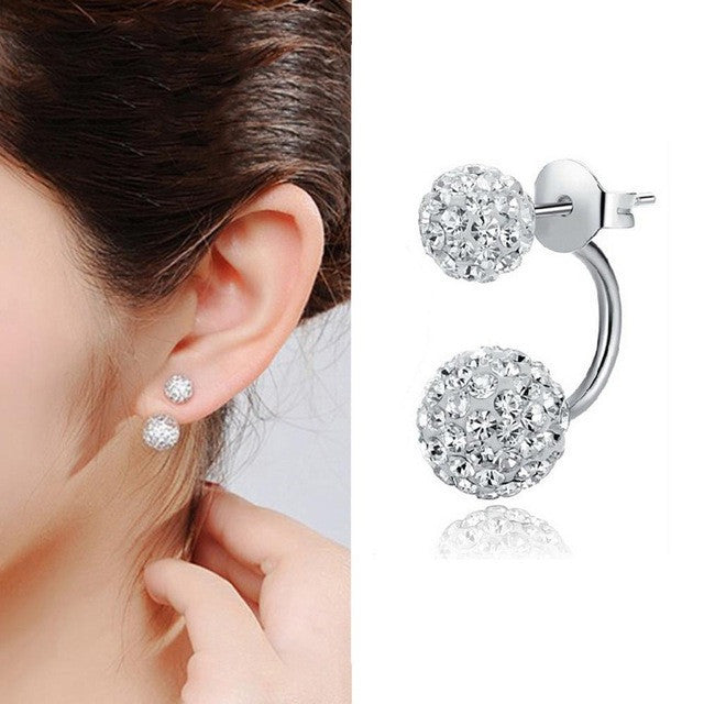 Fashion Jewelry Shamballa Earrings 925 Silver Crystal Disco Ball Shamballa Summer Style Stud Earrings for Women