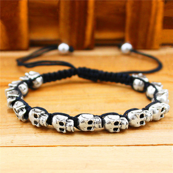 Fashion Jewelry Vintage Look Silver Plated Handmade Rope Woven Skull Bead Bracelet