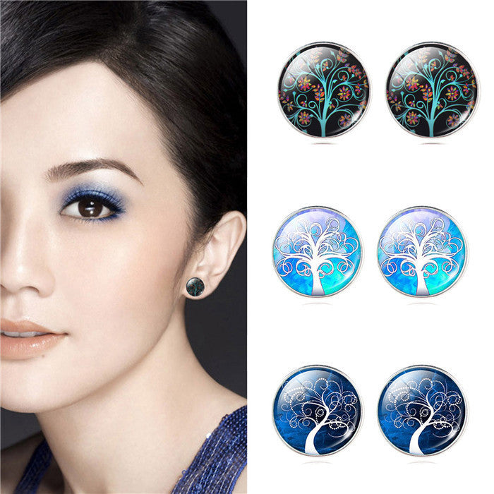 Fashion Life Tree Earrings Classic Glass Cabochon Stud Earrings Fashion Silver Color Earrings for Women Gift Valentine's Day
