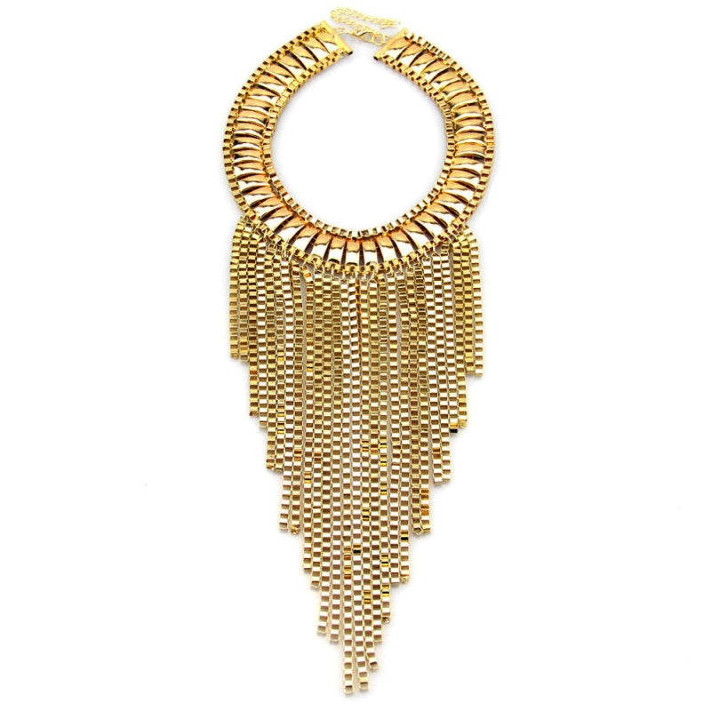Fashion Maxi Tassels Necklaces Neck Bib Collar Chunky Choker Long Chain Statement Necklaces & Pendants Women Accessories