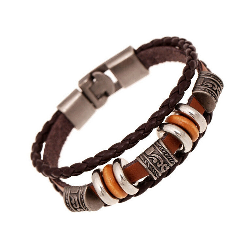 Fashion Men Jewelry Punk Vintage Braided Bracelets Bangles Handmade Leather Charm Bracelet Male Jewelry