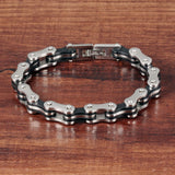 Men Jewelry Stainless Steel Silicone Bracelets Biker Bicycle Motorcycle Chain Man Hand Bracelet Accessories