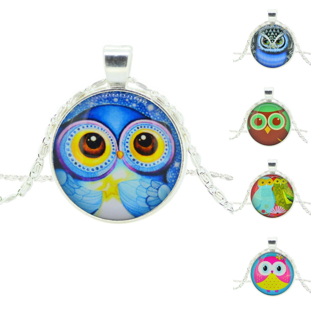 Fashion Owl Pendant Necklace in Jewelry Vintage Glass Cabochon Statement Necklace Newest Silver Color Chain Necklace