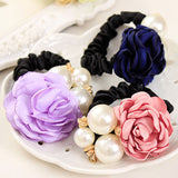 Fashion Pearl Flower Hair Bands for Women Girls Three Pearls Decor Elastic Ponytail Headband