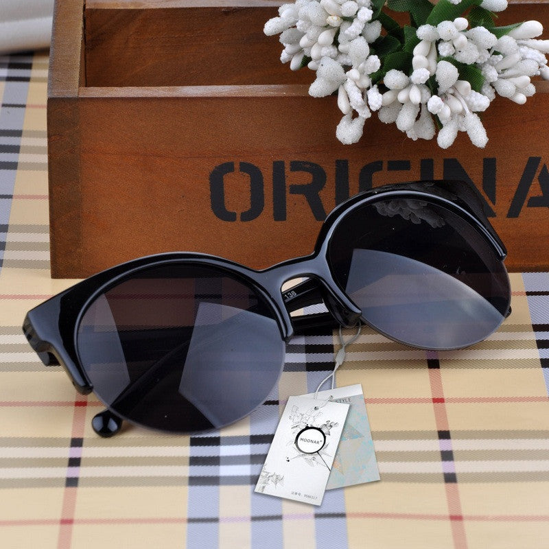 Fashion Retro Designer Super Round Circle Glasses Cat Eye Semi-Rimless Sunglasses Glasses Goggles