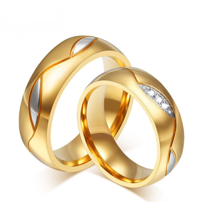 Fashion Ring For Women Men 18K Gold Plated Engagement Wedding Rings 316l Stainless Steel Gifts