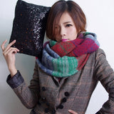 Fashion Scarf Women Multicolor Mosaic Winter Warm Long Scarf Knitted Wool Neck Scarves Wraps Thicken Shawls