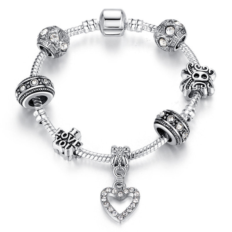Fashion Silver Heart Charm bracelet for Women Crystal Beads Bracelet Original Women Bracelets Bangle DIY Jewelry Pulseries Gift