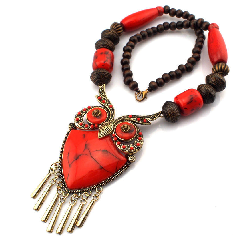 Fashion Tibetan Style Women Statement Necklaces Wood Chain Turquoise Big Owl Necklaces & Pendants Boho Jewelry Maxi Dress