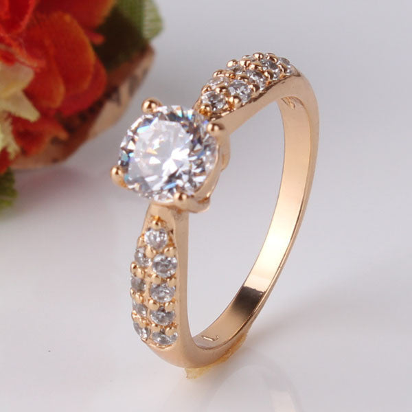 Fashion Wedding Elegant 18K Gold Plated Rings Jewelry AAA Cubic Zirconia Rings For Women