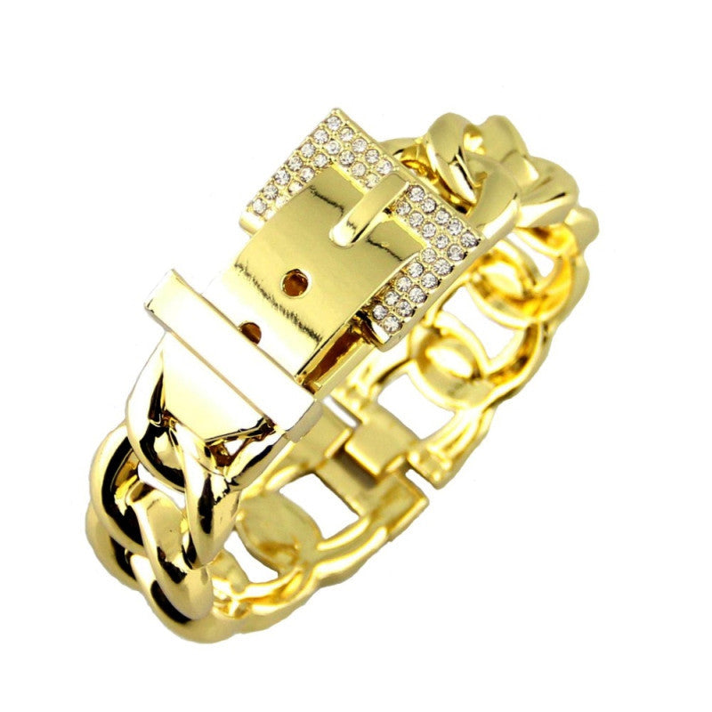 Fashion Women Belt Design Bracelets Accessories Zinc Alloy Rhinestones Metal Charm Cuff Bangles Statement Jewelry