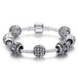 Fashion Women Bracelet Silver Plated Crystal Bead Charm Bracelet For Women Fine Jewelry Original Bracelets Gift