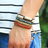 Fashion accessories Rope Wood Bead Leather Bracelets & bangles 1 Sets Multilayer Braided Wristband Bracelet Men pulse