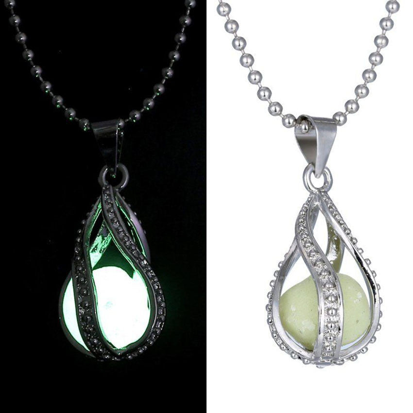 Fashion fluorite rhinsetone Women The Little Mermaid's Teardrop Glow in Dark Pendant Necklace