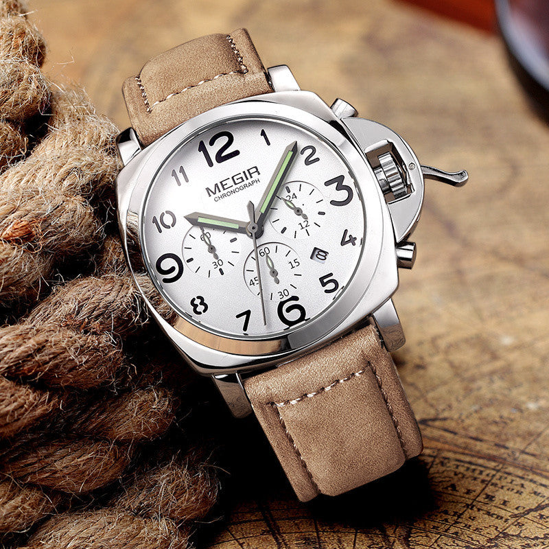 Fashion military lumimous quartz watches men analog casual chronograph waterproof leather wristwatch man top brand MEGIR