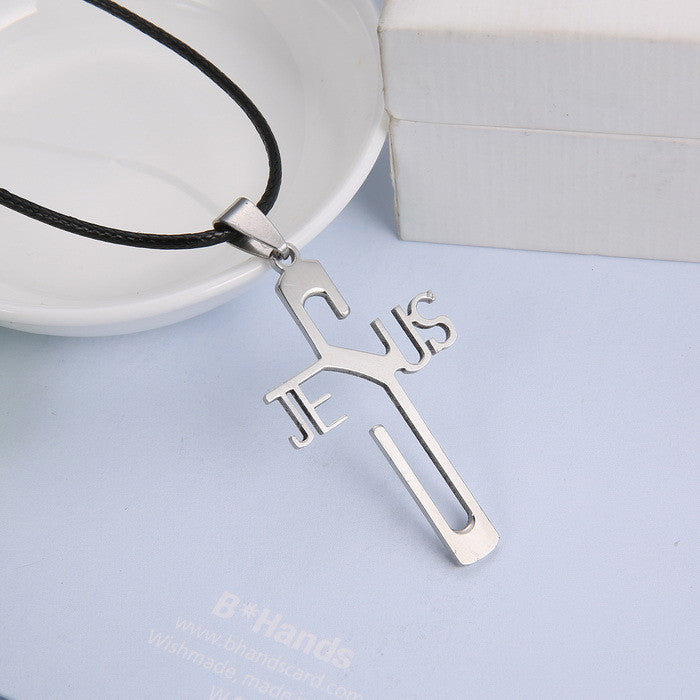 Fashion necklaces JESUS cross Pendant 316L Stainless Steel necklaces & pendants Leather Chain women & men jewelry