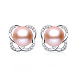 Fashion pink pearl earrings for women summer style sterling silver jewelry genuine natural freshwater pearl stud earrings