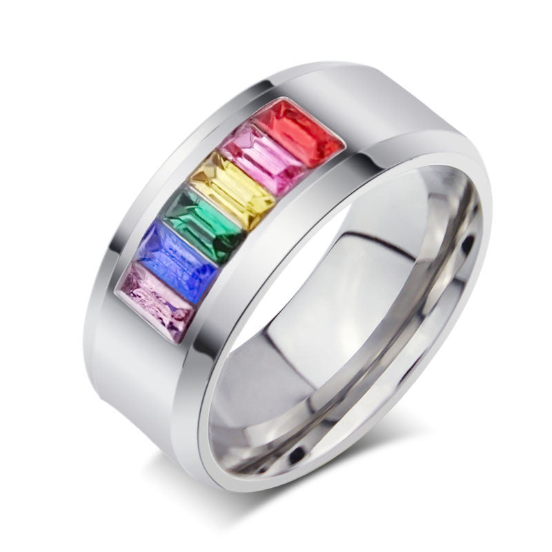 Fashion rainbow wedding rings for men and women gay pride ring with stone