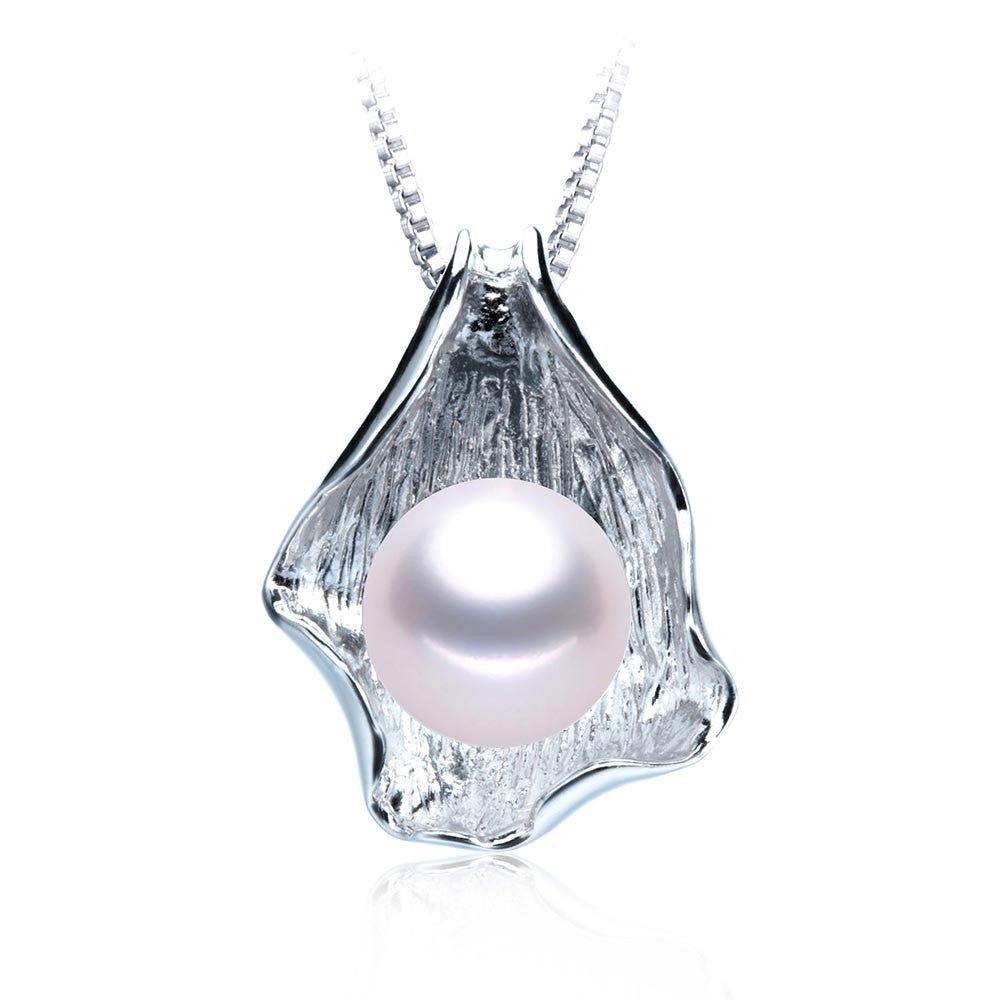 Fashion white/pink/purple 10-11mm natural freshwater pearl necklace amp pendant high quality silver jewelry for women