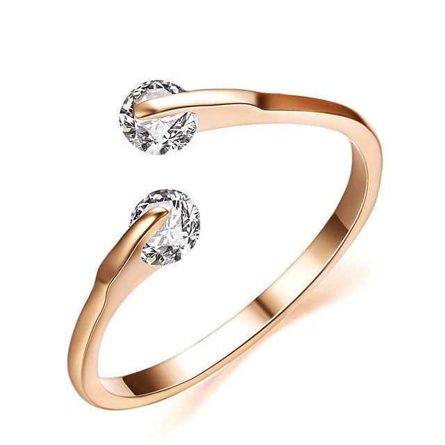 Fashion 18K Rose Gold Plated Fashion Design Twin Zircon CZ Diamond Engagement Rings for Woman