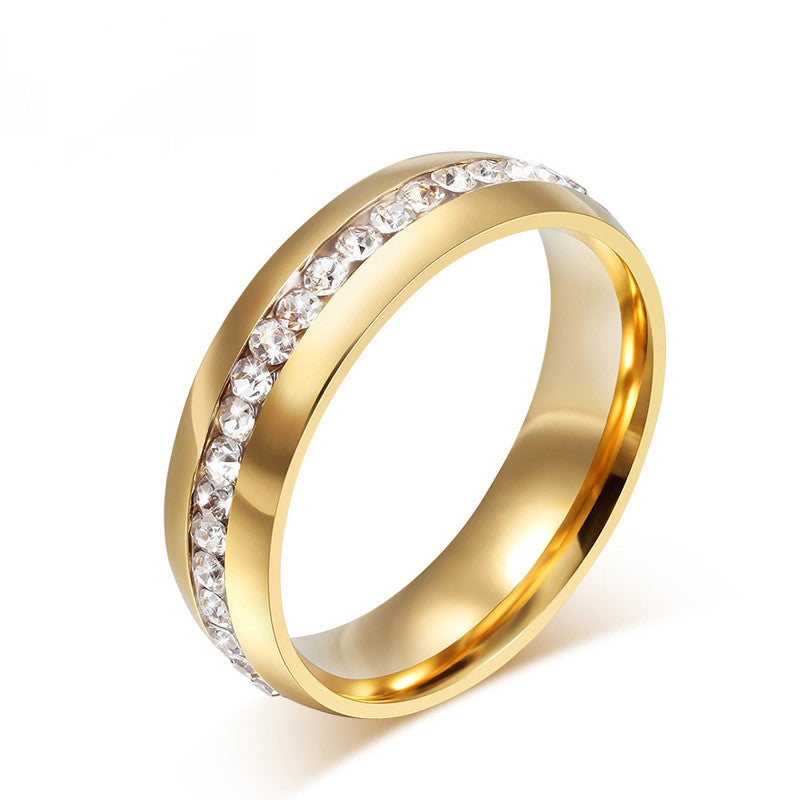Fashion 18k gold plated crystal wedding rings for women stainless steel ring